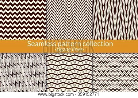 Zigzag Line Seamless Pattern Collection. Geometric Backgrounds. Zig Zag, Chevron Print Kit. Classic