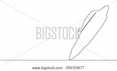 One Line Drawing.pen. Continuous Line Art. Ballpoint Pen. Biro. Hand Drawn Minimalist Design.