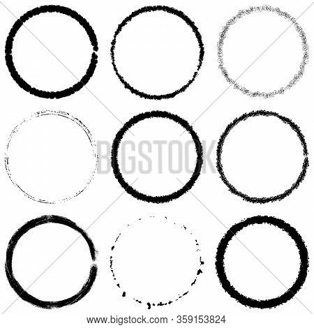 Set Of Grunge Circle Stamp Draft Mockup Of Distress Overlay Basis Texture For Your Design. Thin Thor