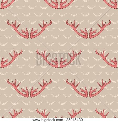Pink Deer Antler Seamless Pattern. Ditzy Girly Coral Red Flat Color Background. Hand Drawn Forest An