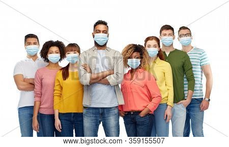 health, quarantine and pandemic concept - group of people wearing protective medical masks for protection from virus