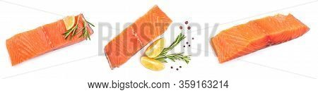Fillet Of Red Fish Salmon With Lemon And Rosemary Isolated On White Background. Top View. Flat Lay.