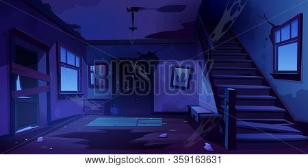 Old Abandoned House With Mess And Broken Furniture At Night. Vector Cartoon Interior Of Empty Home H