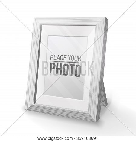 Empty Wooden Frame, Cartoon Style.desktop Photo Frame.realistic Wood, Transparent Glass, 3d Element