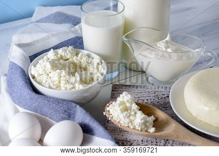 Milk Protein Products, A Bottle And A Glass Of Milk, Sour Cream, Cottage Cheese, Eggs, Cheese, A Tow