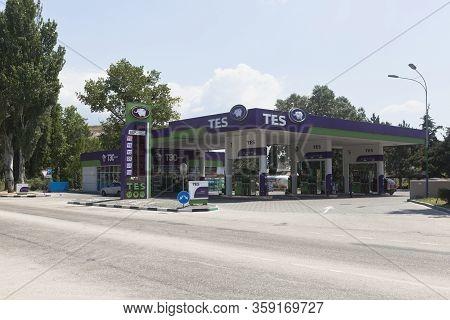 Inkerman, Sevastopol, Crimea, Russia - July 27, 2019: Tes Gas Station On Simferopol Highway In Inker