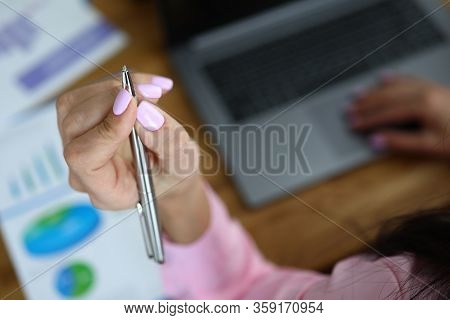Girl Raised Her Hand Over Report Working On Laptop. Management Accounting In Accordance With Interna