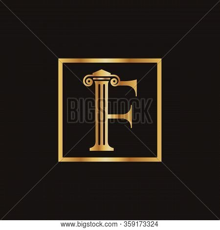 Attorney & Law Letter F Logo With Creative Modern Rectangular Vector Template. Law Business Letter F
