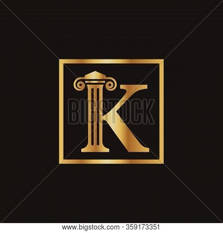 Attorney & Law Letter K Logo With Creative Modern Rectangular Vector Template. Law Business Letter K