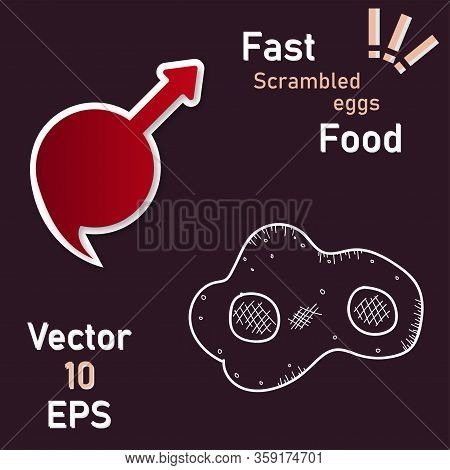 Fried Eggs. Scrambled Egg. Breakfast Serving. Cooked Omelette. Isolated Background. Eps10 Vector Ill
