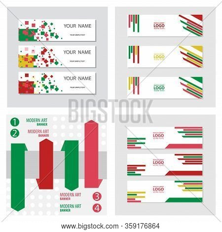 Set Of Abstract Corporate Business Banner Template, Horizontal Advertising Business Banner Layout Te