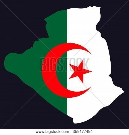 Stylized Vector Algeria Map Showing Big Cities, Capital Algiers, Administrative Divisions.