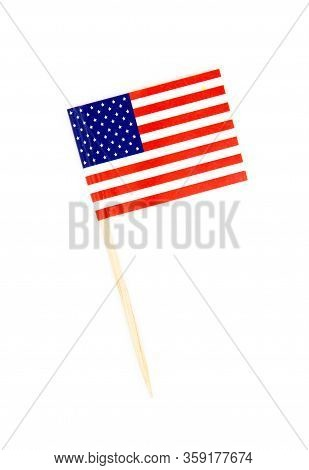 Mini Paper Flag Usa. Isolated American Flag Pointer Isolated On White Background. With Shadow Below