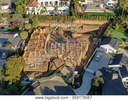 Aerial View Of Luxury Wood Type Villa Under Construction. Exterior View Of New Wealthy Coastal Type