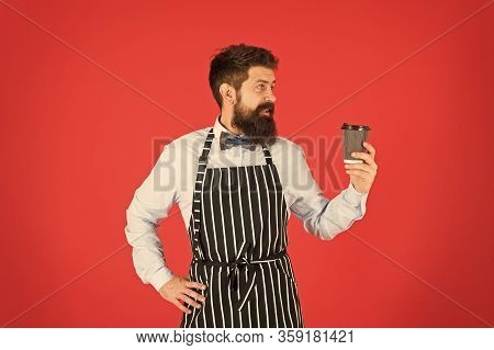 Experienced Barista. Mature Man Red Background. Skilled Servant. Barista Hipster Chef Apron. Elegant