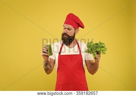 Hipster Decide What To Choose. Healthy Eating And Dieting Concept. Cook Hold Fresh Salad And Smoothi