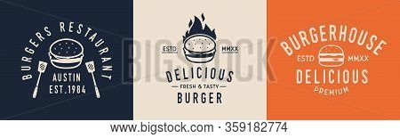 Burger Hipster Logo Set. Logo For Burger House, Restaurant With Burger Icon. Typography Restaurant.