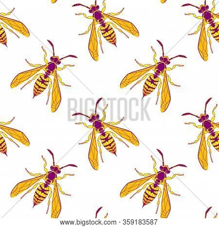 Wasp Insect Seamless Pattern. Dangerous Design For Textile, Fabric Texture. Yellow Bugs Isolated On