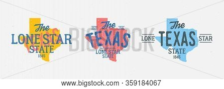 Set Of 3 Colorful Vintage Texas Labels. Print For T-shirt, Typography. Texas Map With Stamp Effect.