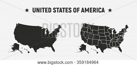 Usa Blank Map And Usa Map With States.   Set Of 2 Usa Map. Poster Map Of Usa. United States Of Ameri