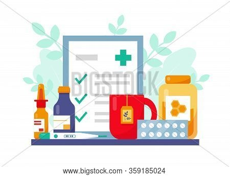 Flu Or Cold Treatment Concept. Medication, Recipe And Cap Of Tea With Honey For Flu Patient. Vector