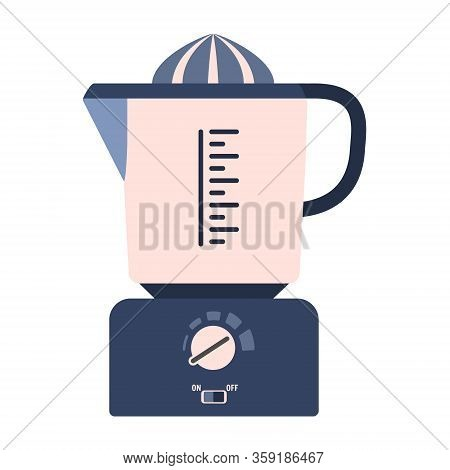 Flat Vector Citrus Juicer Icon, Juice Squeezer. Cute Blue And Pink Kitchen Appliance, Cooking Equipm