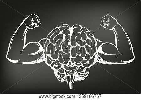 Brain With Strong Hands, Brain Training, Icon Cartoon Hand Drawn Vector Illustration Sketch, Drawn I