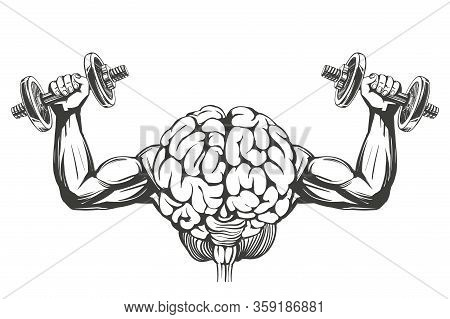 Brain With Strong Hands, Brain Training, Icon Cartoon Hand Drawn Vector Illustration Sketch