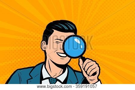 Businessman Looking Through Magnifying Glass. Retro Comic Pop Art Vector Illustration