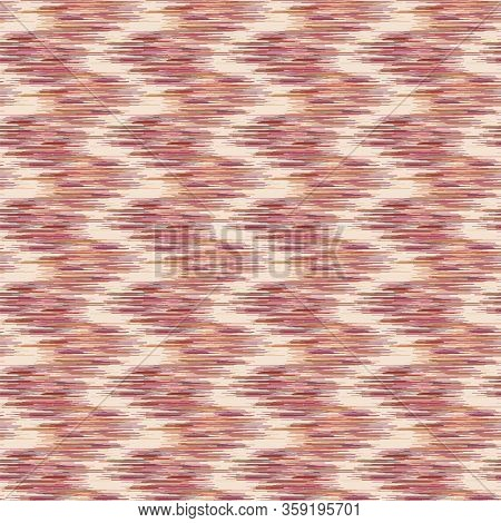 Color Variegated Marl Ikat Zig Zag Texture Background. Faux Woven Fabric With Blotched Vertical Stri