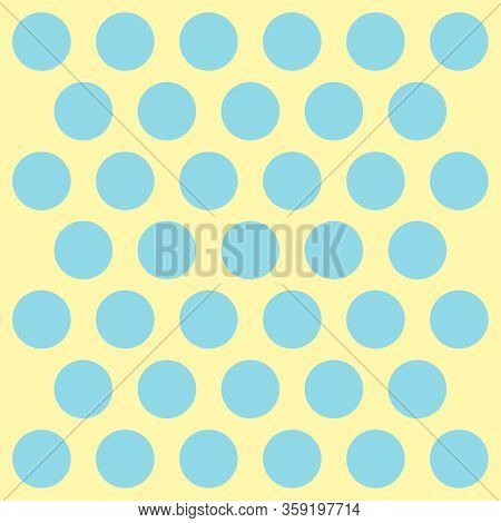 Easter Pattern Polka Dots. Template Background In Blue And Yellow Polka Dots. Seamless Fabric Textur
