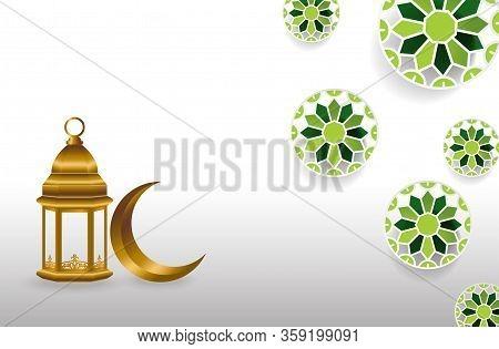 Islamic Background, Ramadan Background, Lantern, Crescent, Window On White Beige Background. Ramadan