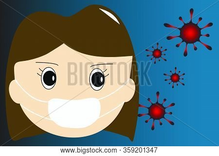 Group Of Viruses And Face Of Woman Waring Medical Face Mask On Gradient Background