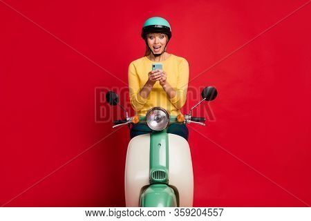 Portrait Of Her She Nice Attractive Lovely Glad Cheerful Cheery Girl Sitting On Moped Using Fast Spe