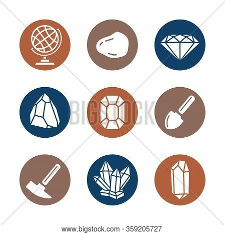 Geology Icons Set For Science, School, University. Flat Style. Geological Hammer, Shovel, Globe, Cry