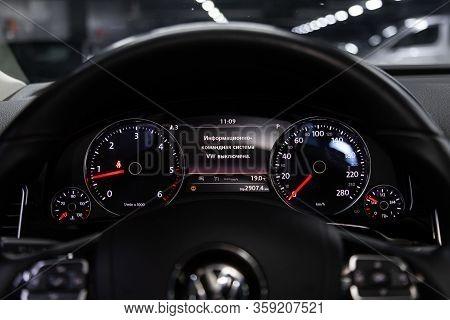 Novosibirsk, Russia - February 09 , 2020 Volkswagen Touareg,car Panel, Digital Bright Speedometer, O