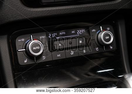 Novosibirsk, Russia - February 09 , 2020 Volkswagen Touareg,close Up Of  Car Panel With The Air Cond
