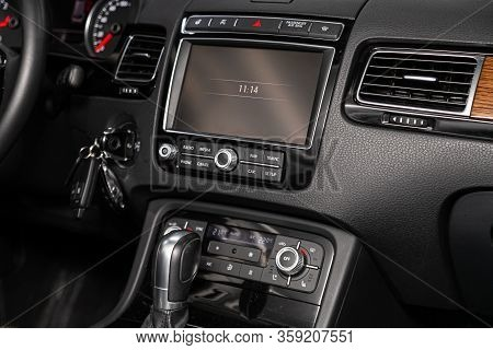 Novosibirsk, Russia - February 09 , 2020 Volkswagen Touareg, Close-up Of The Central Control Panel,