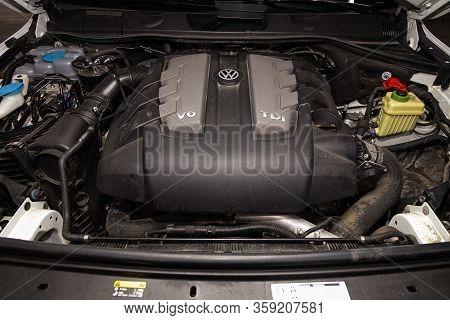 Novosibirsk, Russia - February 09 , 2020 Volkswagen Touareg, Car Engine Close-up. Internal Combustio