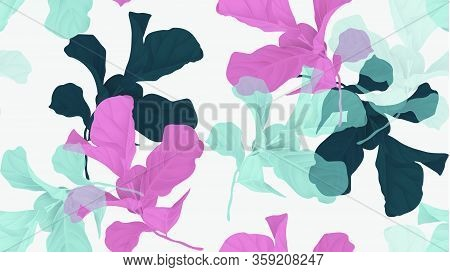 Floral Seamless Pattern, Green, Pink And Blue Fiddle Leaf Fig Plant On Light Gray Background, Pastel