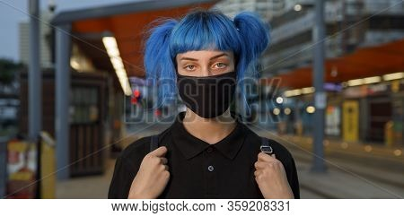 Coronavirus Fashionable Medical Face Mask Worn By Young Female Student With Blue Anime Style Hair, S