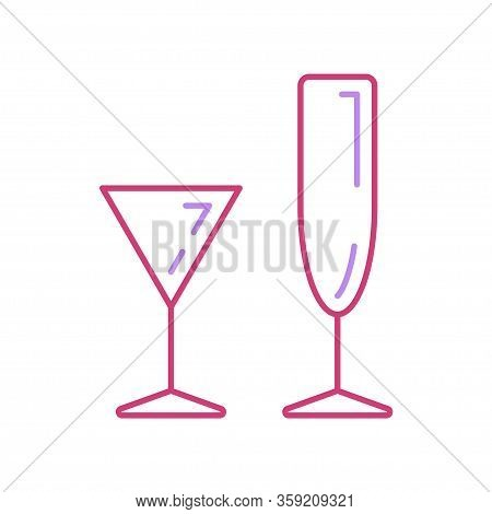 Line Wineglass, Tropical Cocktail Cup Icon Set. Binge, Drink, Champagne, Wine. Party Celebration, Ho