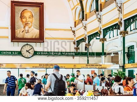 Ho Chi Minh City - Vietnam, April 24,2019: Portrait Of Ho Chin Minh, Communist Leader Of The Vietcon