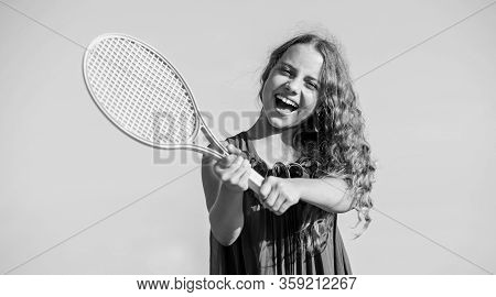 Never Give Up. Childhood Happiness. Healthy Lifestyle. Small Girl With Tennis Racquet. Summer Sport