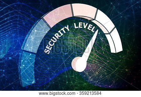 Scale With Arrow. The Security Level Measuring Device Icon. Sign Tachometer, Speedometer, Indicators
