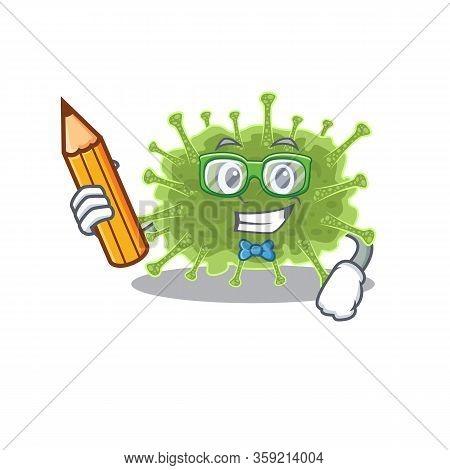 A Brainy Student Haploviricotina Cartoon Character With Pencil And Glasses