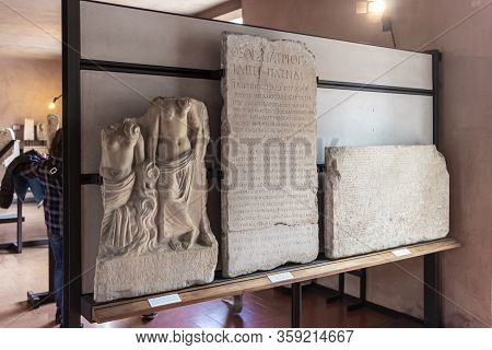 Verona, Italy - September 26, 2015 : Fragments Of Decoratively Decorated Stone Gravestones At An Exh