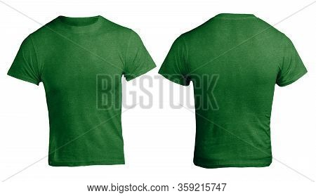 Green Heather Color T-shirt Mock Up, Front And Back View, Isolated. Plain Green Shirt Mockup. Shirt