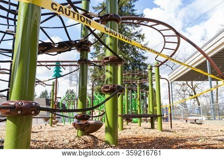 A Closed Playground As Seen From The Height Of A Child