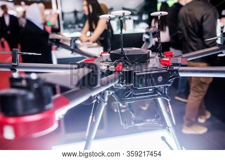 Belarus, Minsk, 25 May 2019.quadrocopter Black Model At A Technology Exhibition